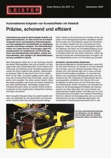 thumbnail of Automatisiertes Entgraten von Kunststoffteilen mit Heißluft