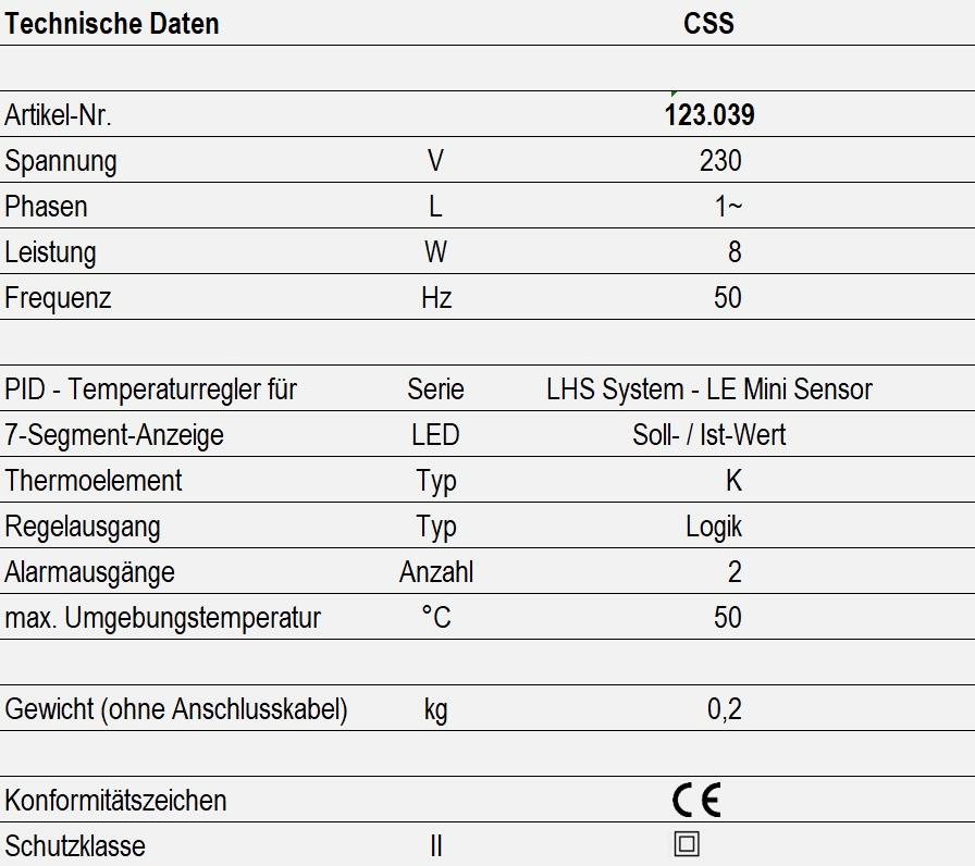Technische Daten - CSS Regler