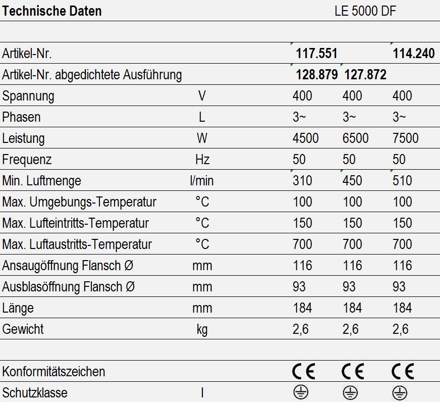 LE 5000 DF - technische Daten