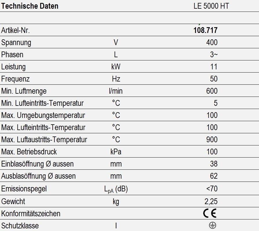 LE 5000 HT - technische Daten
