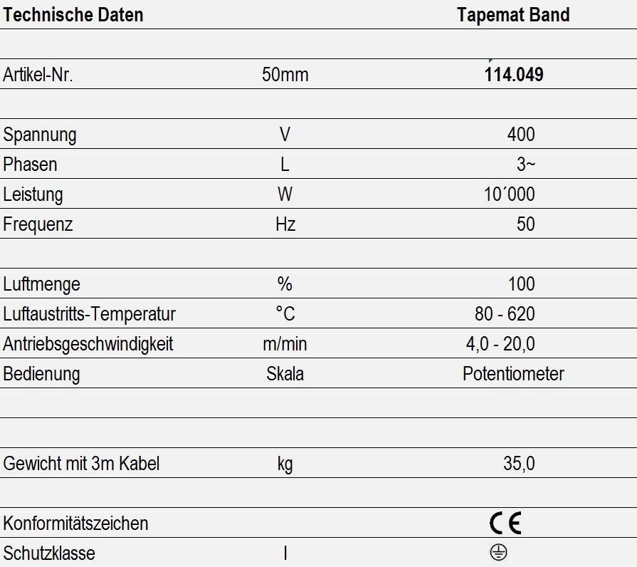 Technische Daten - Tapemat Band