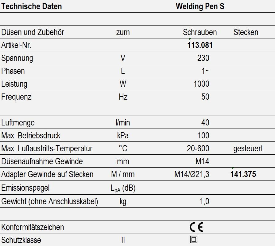Technische Daten - Welding Pen S
